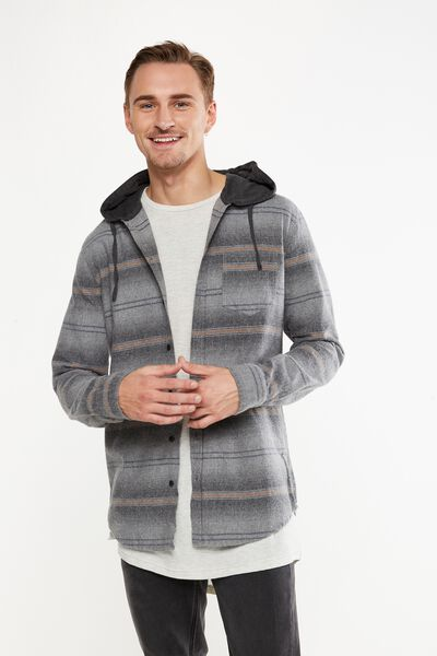 Rugged Hooded Shirt, GREY ORANGE STRIPE