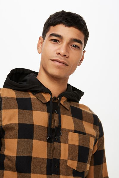 Rugged Hooded Shirt, BLACK AMBER CHECK