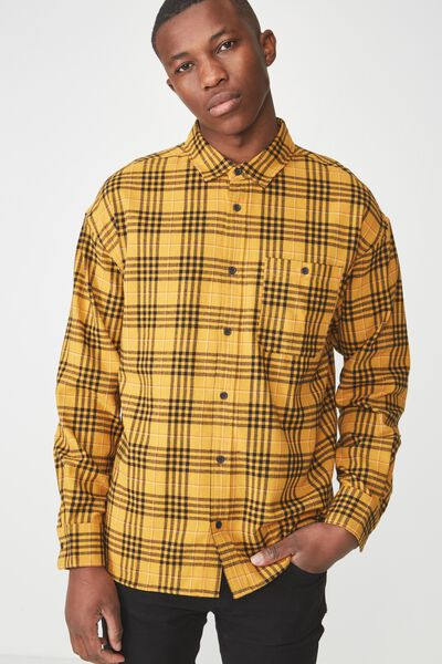 Rugged Long Sleeve Shirt, YELLOW CHECK