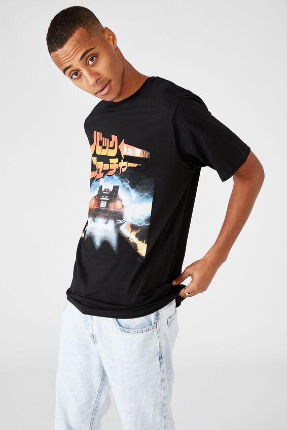 Tbar Collab Movie And Tv T-Shirt, LCN UNI BLACK/BACK TO THE FUTURE 1