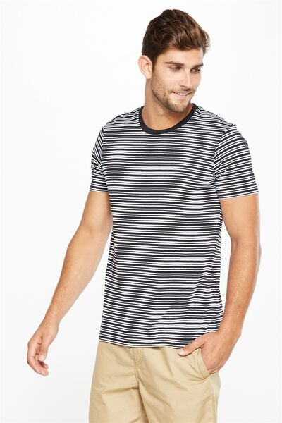 Tbar Premium Crew, BLACK/WHITE DOUBLE STRIPE