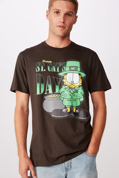 Tbar Collab Character T-Shirt, LCN GAR WASHED BLACK/GARFIELD - ST CATS DAY
