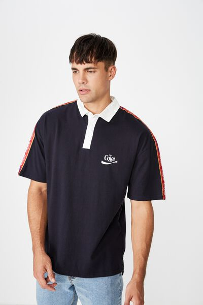 Collaboration Oversized Polo, NAVY TAPE COKE
