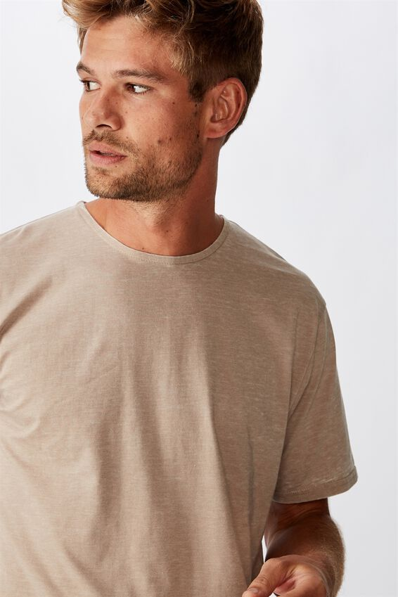 Longline Scoop Burnout Tee, GRAVEL STONE