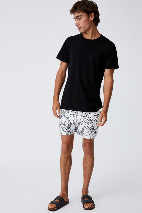 Swim Short, WHITE FLORAL LINES