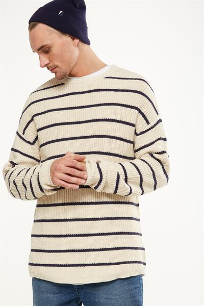 Scoop Hem Rib Knit, SAND/NAVY STRIPE