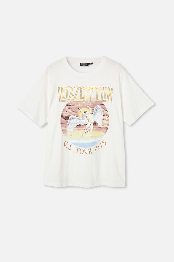 Tbar Collab Music T-Shirt, LCN ARA VINTAGE WHITE/LED ZEPPLIN-US TOUR 197