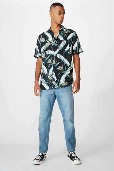 Short Sleeve Resort Shirt, BLACK BIRD FLORAL