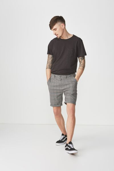 Washed Chino Short, GREY/PRINCE CHECK