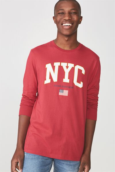 Tbar Long Sleeve, PERSIAN RED/NYC SPORTSWEAR