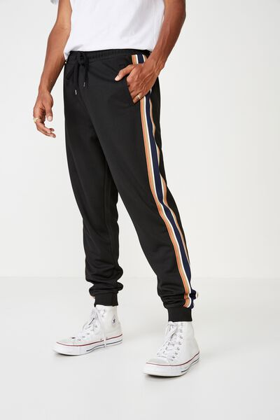 Slim Tricot Track Jogger, BLACK / RIBBED TAPE