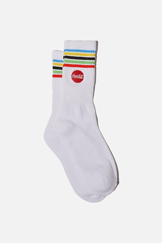 Single Pack Active Socks, LCN COK WHITE/COKE COLOURS