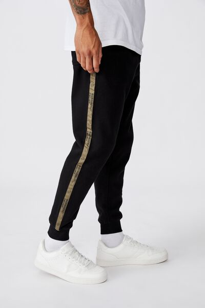 Trippy Slim Trackie, BLACK/ SIDE TAPE