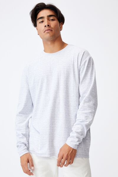 Brunswick Stripe Long Sleeve T-Shirt, LIGHT GREY MARLE/WHITE/EASY STRIPE