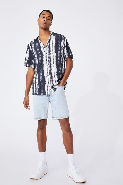 91 Short Sleeve Shirt, BLACK VERT DYE LINES