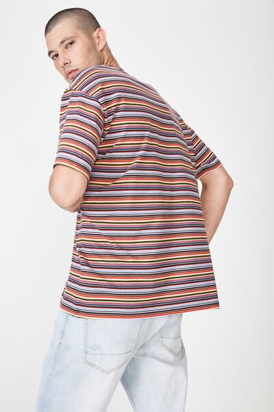 Dylan Tee, RED/YELLOW/BLUE/BLACK STRIPE