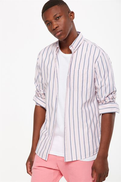 Brunswick Shirt 3, PINK NAVY STRIPE