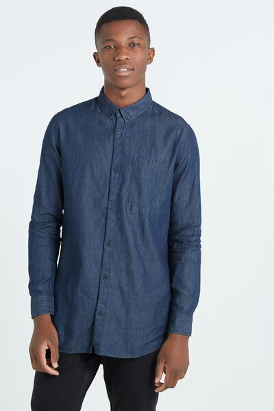 Ae Long Sleeve Longline Shirt, INDIGO DENIM