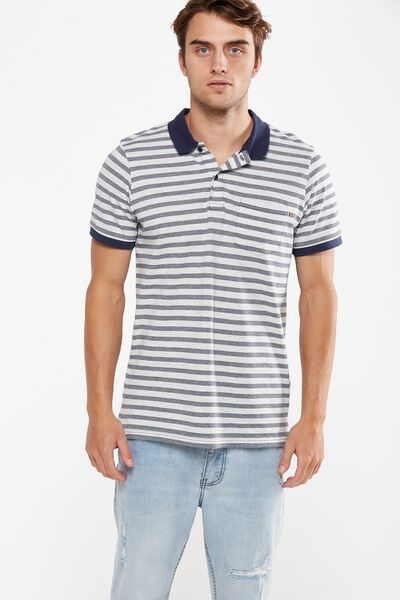 Icon Polo, LIGHT GREY MARLE STRIPE SLIM