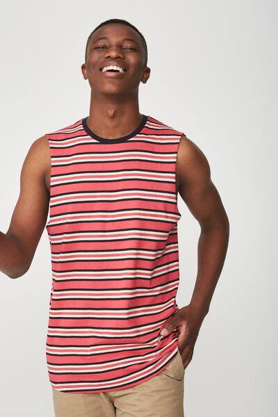 Tbar Muscle, PINK BERRY/OFF WHITE/INK NAVY STRIPE