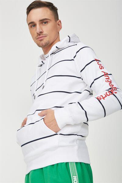Fleece Pullover 2, WHITE/TRUE NAVY STRIPE/LA SPORTS