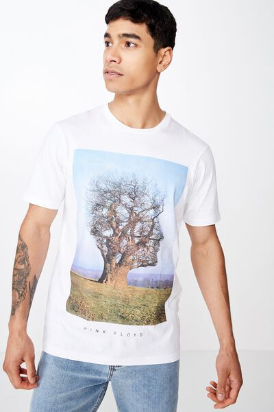 Tbar Collab Music T-Shirt, LCN PER WHITE/PINK FLOYD - TREE FACE