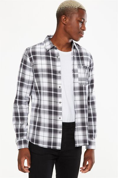 Rugged Long Sleeve Shirt, BLACK WHITE GREY CHECK