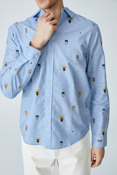 Kakao Long Sleeve Shirt, LCN KAK SKY OXFORD