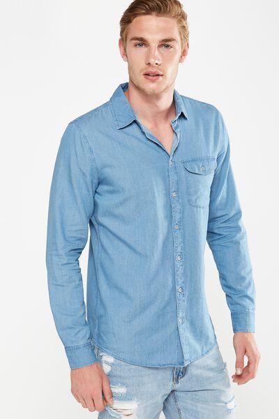 Brunswick Shirt 3, MID BLUE CHAMBRAY