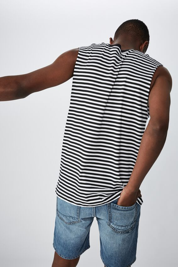 Tbar Muscle, BLACK/WHITE 50/50 STRIPE