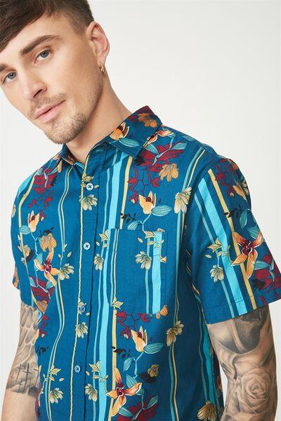 Short Sleeve Resort Shirt, TEAL STRIPE FLORAL