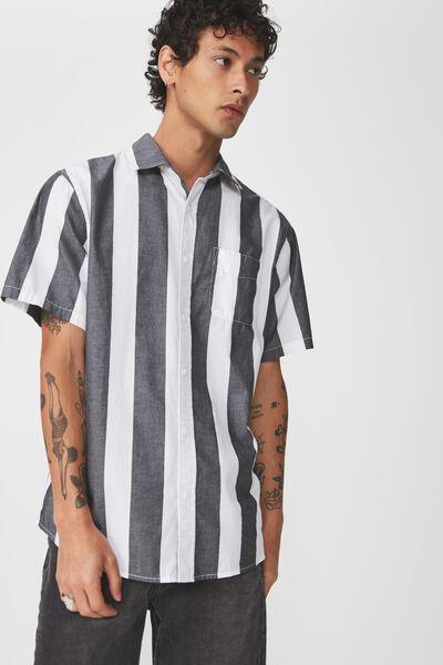 Vintage Prep Short Sleeve Shirt, BLACK BOLD STRIPE