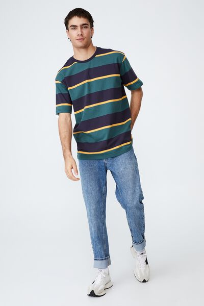 Loose Fit T-Shirt, NAVY/TEAL/YELLOW STRIPE