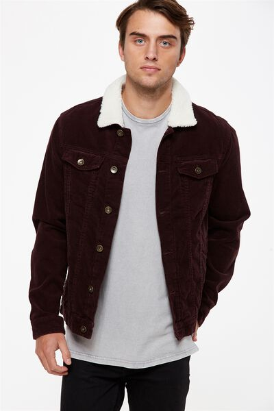 Sherpa Collar Rodeo Jacket, PLUM