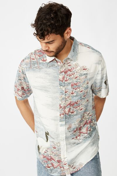 Short Sleeve Resort Shirt, BLUE ABSTRACT SPLICED