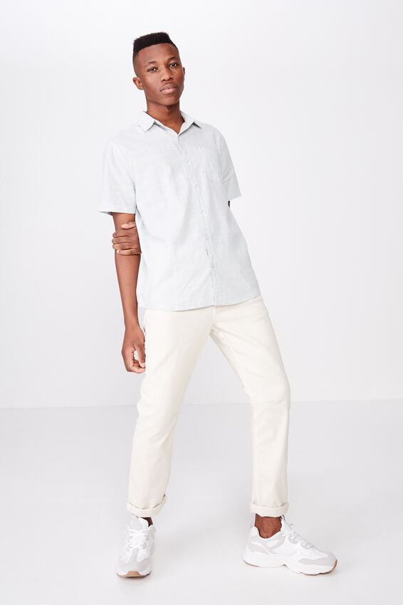 Premium Linen Cotton Short Sleeve Shirt, JADE