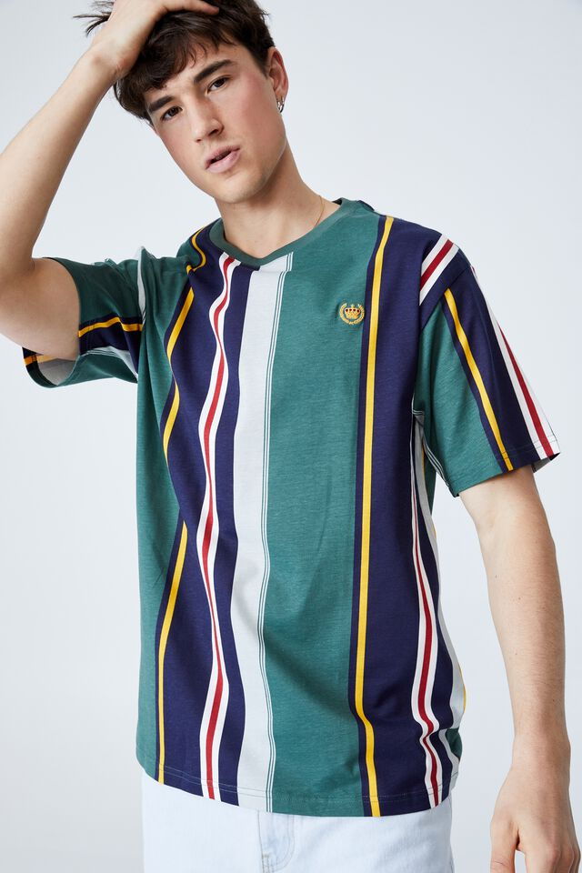 Downtown T-Shirt, TEAL EAST END STRIPE