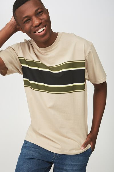 Dylan Tee, IVORY/CHEST BAND STRIPE