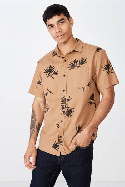Short Sleeve Resort Shirt, TAN SPACED LEAF