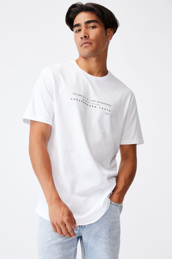 Longline Scoop T-Shirt, WHITE/INFINITE SQUARE