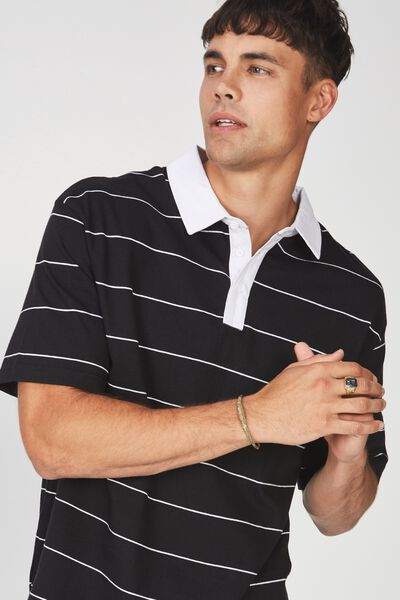 Oversized Short Sleeve Polo, BLACK