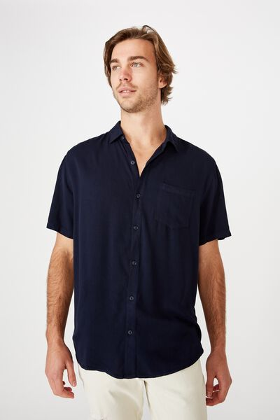 Cuban Short Sleeve Shirt, NAVY