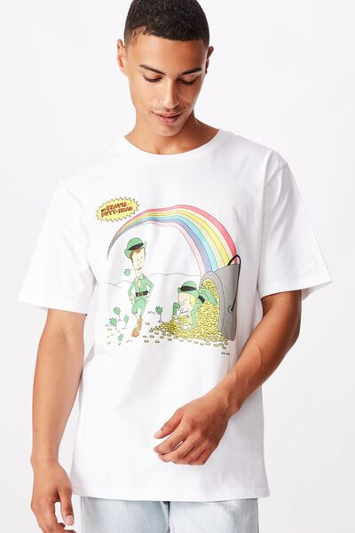 Tbar Collab Movie And Tv T-Shirt, LCN MTV SK8 WHITE/BEAVIS AND BUTTHEAD - RAINBOWS