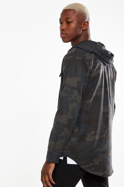 Rugged Hooded Shirt, CAMO