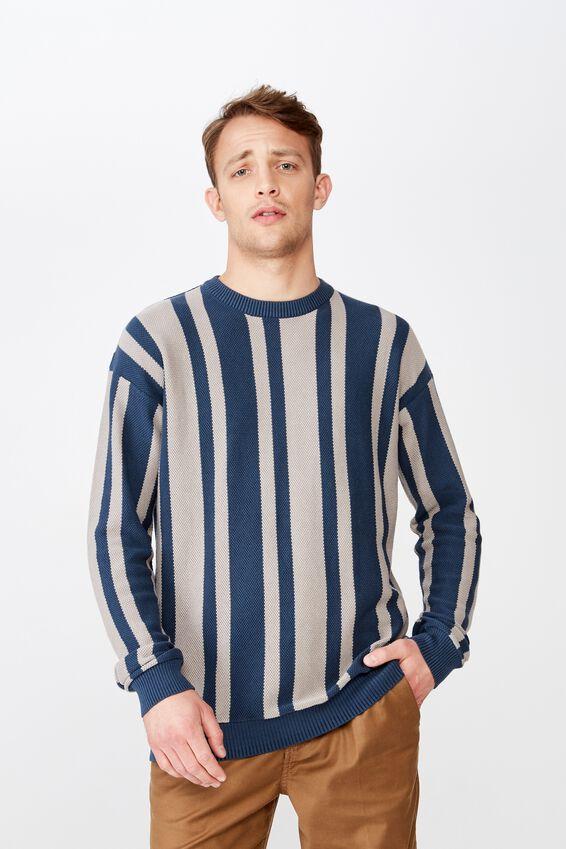 Lightweight Crew Sweater, BLUE STRIPE