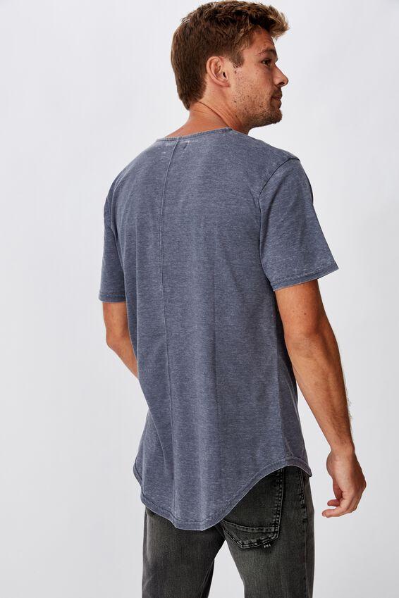Longline Scoop Burnout T-Shirt, LATE NIGHT BLUE