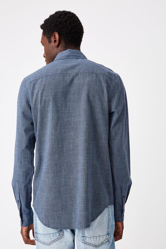 Textured Long Sleeve Shirt, TEXTURED INDIGO