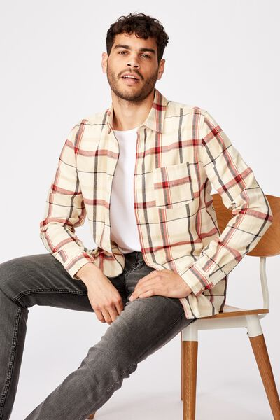 Rugged Long Sleeve Shirt, ECRU RED CHECK