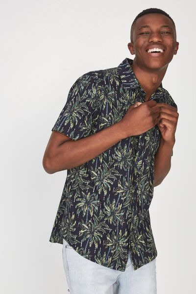 Short Sleeve Resort Shirt, NAVY DOT PALM