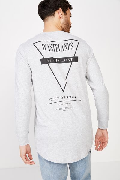 Long Sleeve Curved Hem, LIGHT GREY MARLE/CITY OF SOULS